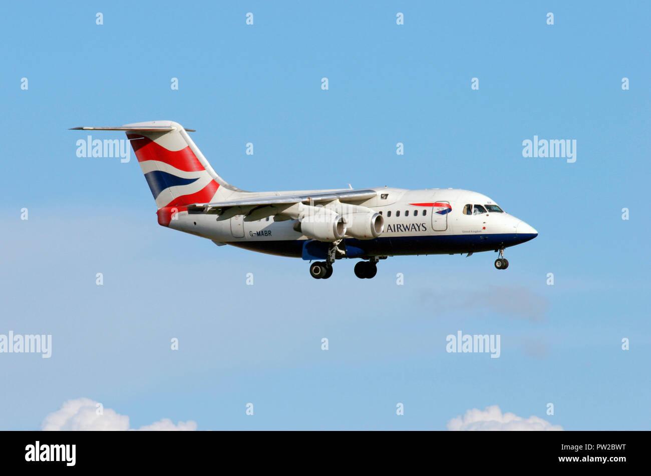 British Airways British Aerospace BAe 146-100 London Stansted aiport Stock Photo