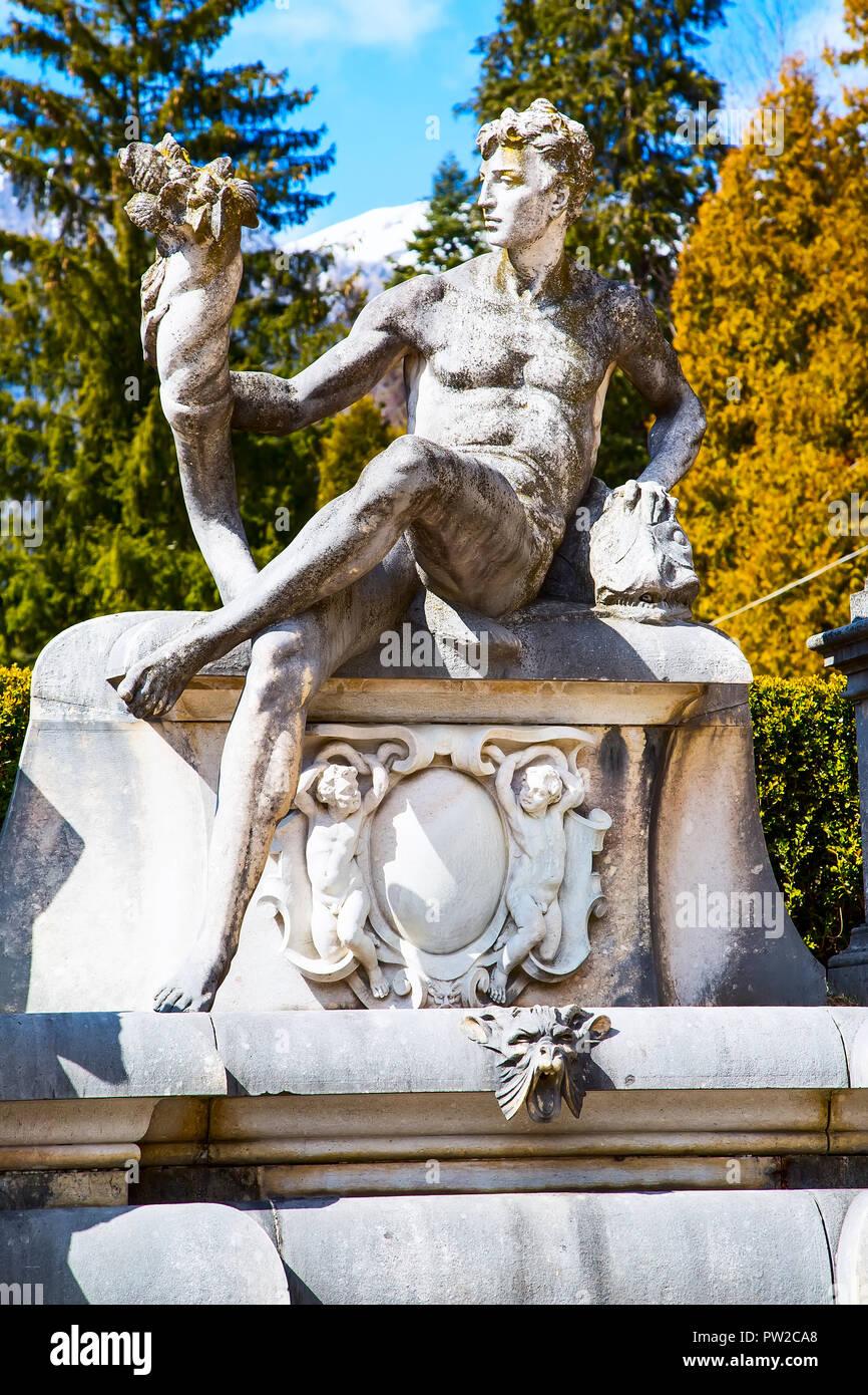 Sculptures In The Garden Of The Peles Castle Transylvania
