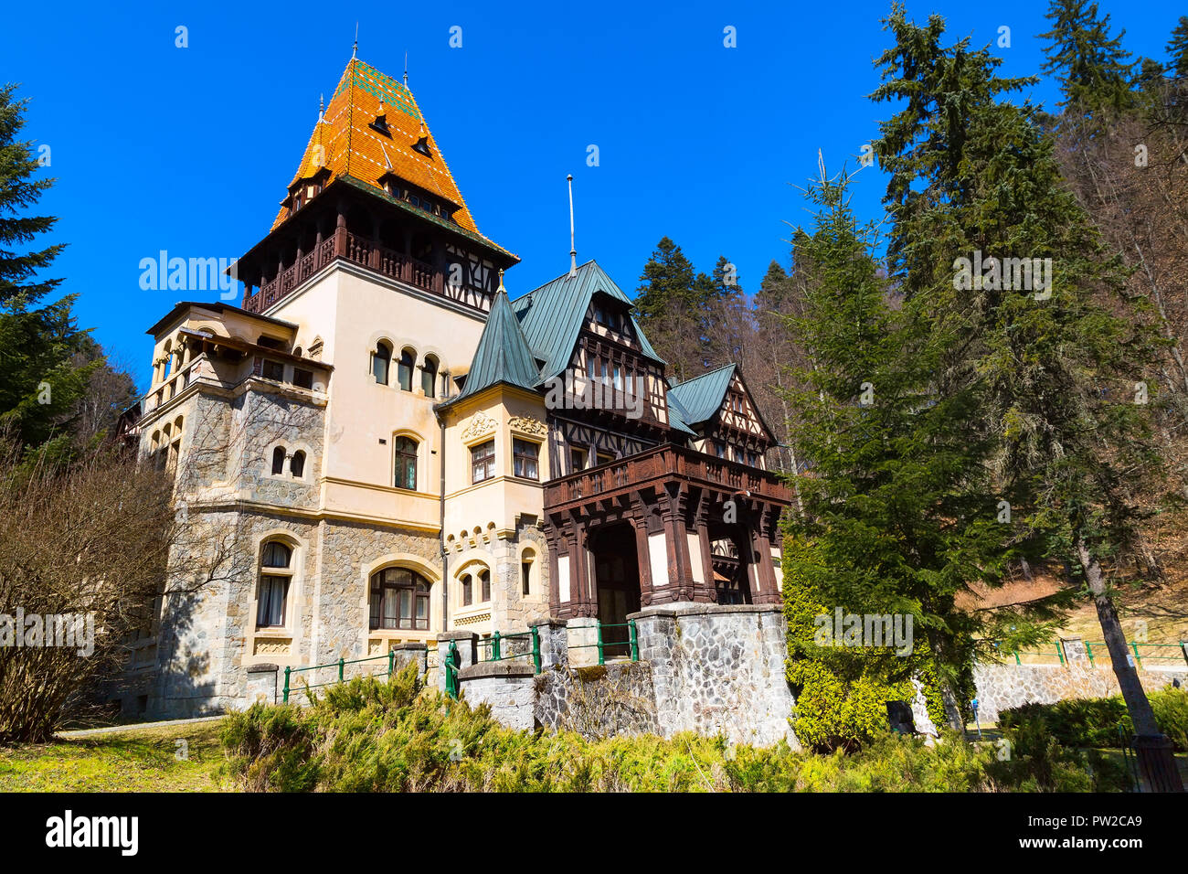 Pelisor castle summer residence in Sinaia, Romania, part of the complex as Peles castle - Stock Image
