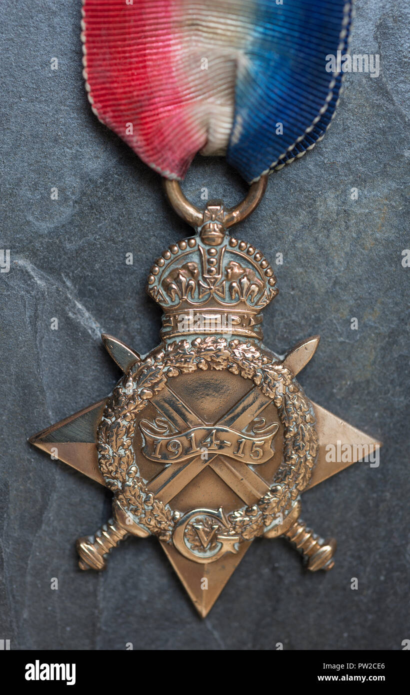 WW1 British Campaign Medal, the British 1914-15 Star on a slate background. - Stock Image