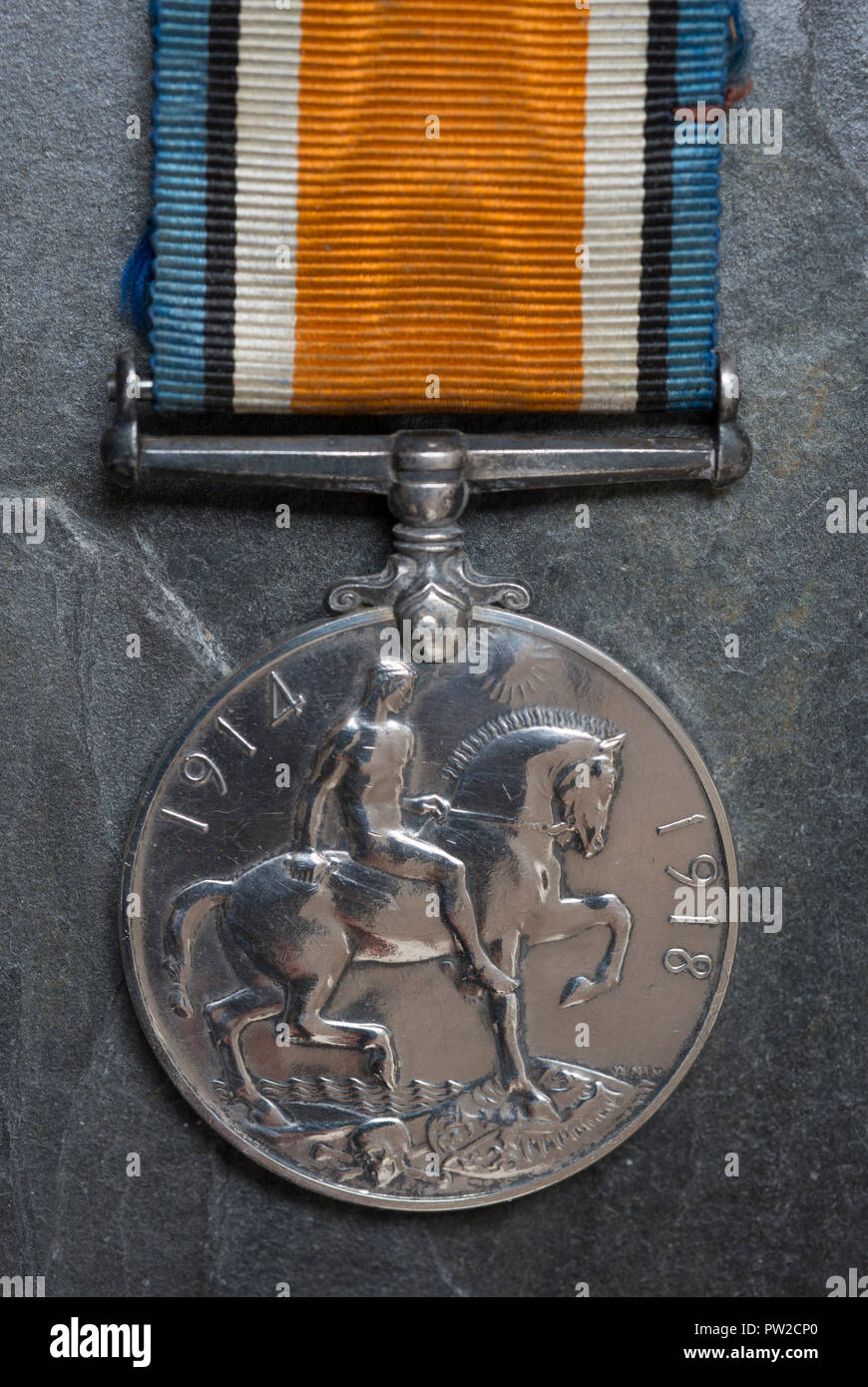 WW1 British Campaign Medal, the British War Medal on a slate background. - Stock Image