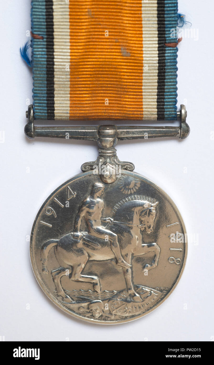 WW1 British Campaign Medal, the British War Medal on a white background. - Stock Image