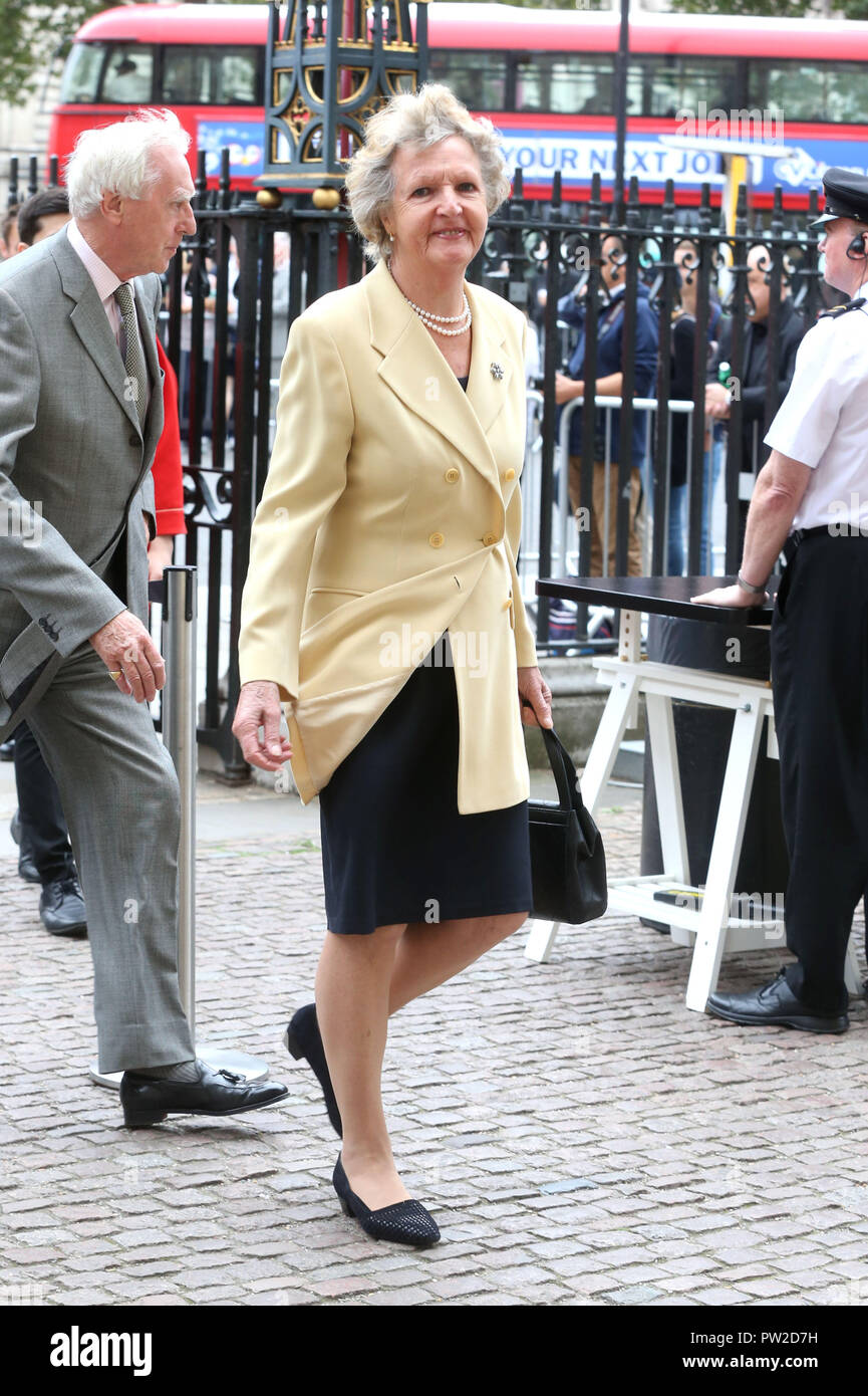 Celebrities attend Sir Peter Hall Service of Thanksgiving at Westminster Abbey  Featuring: Penelope Keith Where: London, United Kingdom When: 11 Sep 2018 Credit: WENN - Stock Image
