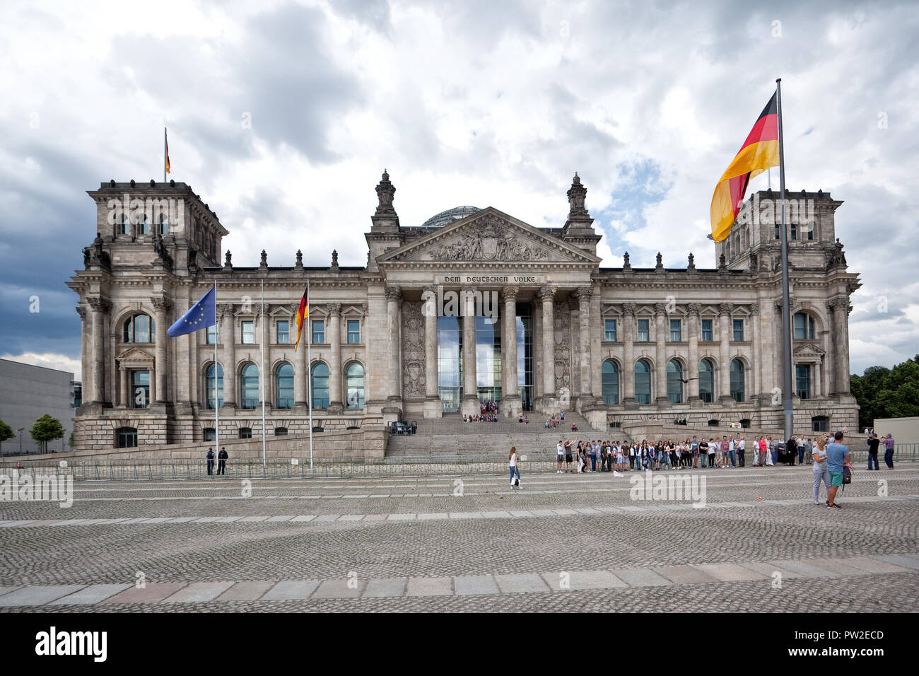 Reichstag building in Berlin, Germany. Reichstag is a well-known building which is placed on the Konigsplatz - Stock Image