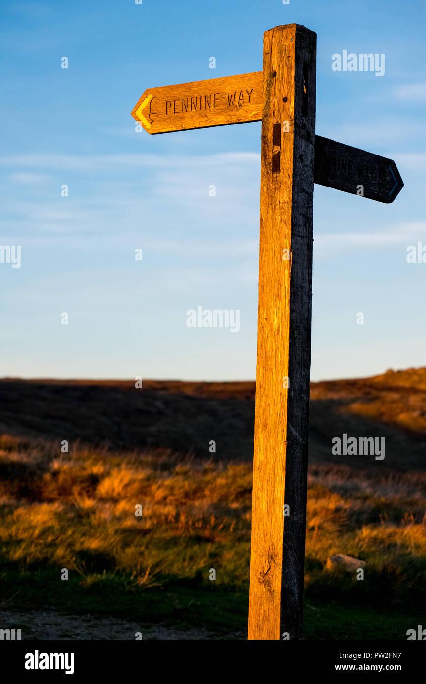 Pennine Way sign at Edale Cross, Kinder Scout, Peak District National Park - Stock Image
