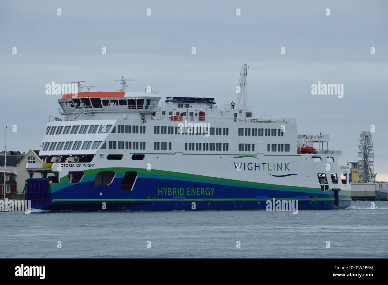 Wightlink's latest hybrid fuel ferry the Victoria of Wight seen operating the Portsmouth to Isle of Wight ferry service across the solent Stock Photo