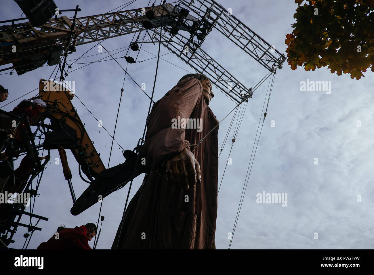 "October, 2018. Liverpool, UK. For the last time anywhere in the world the ""Giants"" take to the streets of Liverpool as part of ""Liverpool's Dream"". Stock Photo"