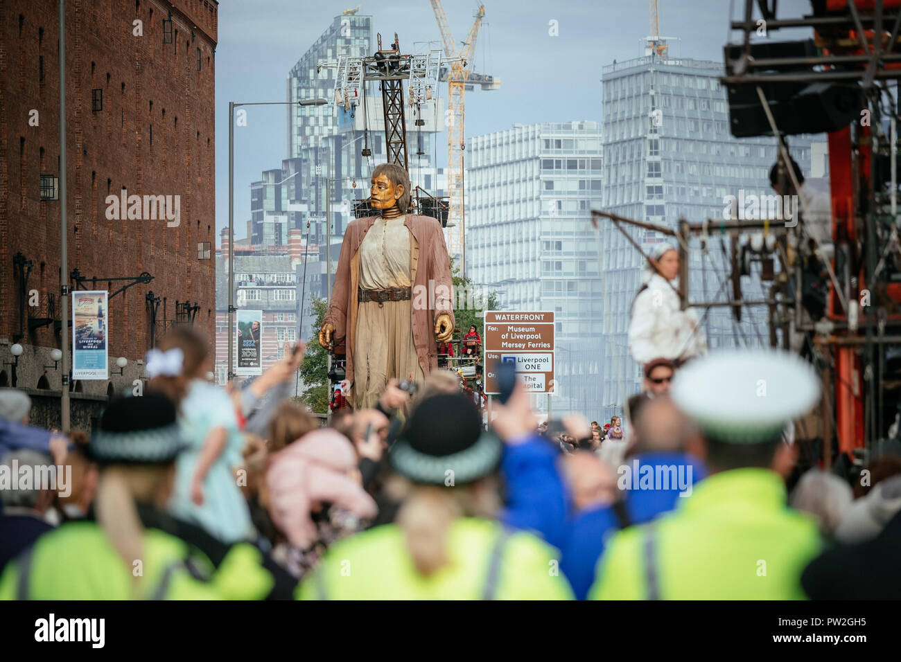 """October, 2018. Liverpool, UK. For the last time anywhere in the world the """"Giants"""" take to the streets of Liverpool as part of """"Liverpool's Dream"""". Stock Photo"""