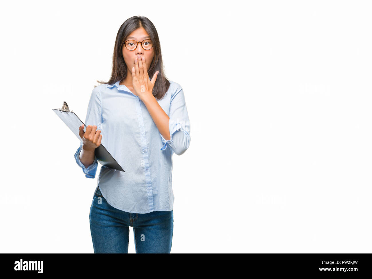 young asian business woman over isolated background holding