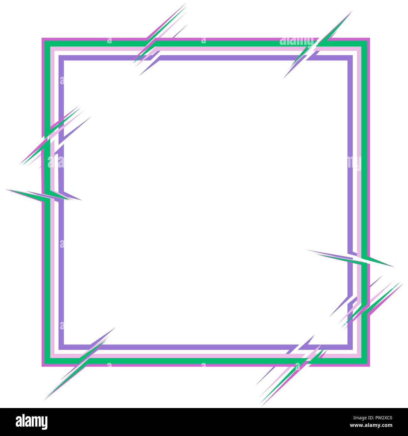 square frame with breaks of contours of several elements, glitch - Stock Vector