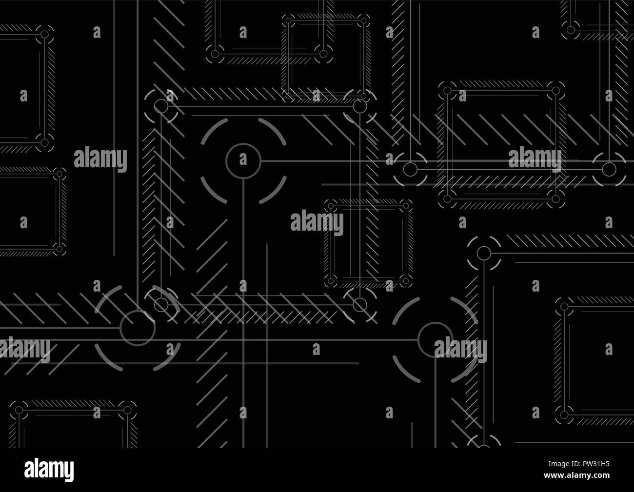 Sci-fi abstract black technology squares background. Dark modern hi-tech vector design - Stock Image