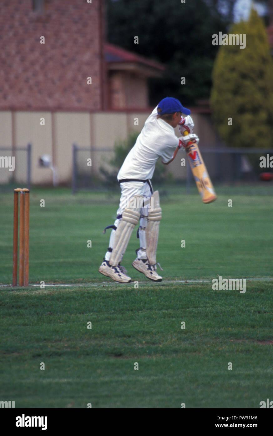 Junior cricket game in progress, Sydney, New South Wales, Australia - Stock Image