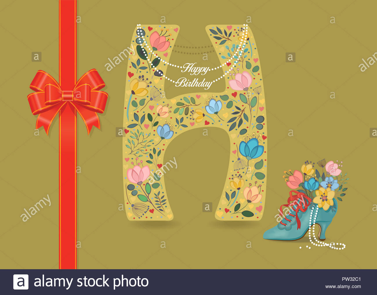 f4957c8168b0b Artistic letter H with folk botanical decor - watercolor flowers and  hearts. Big red bow. Retro blue shoe with pearls and floral bouquet. Pearl  Collar