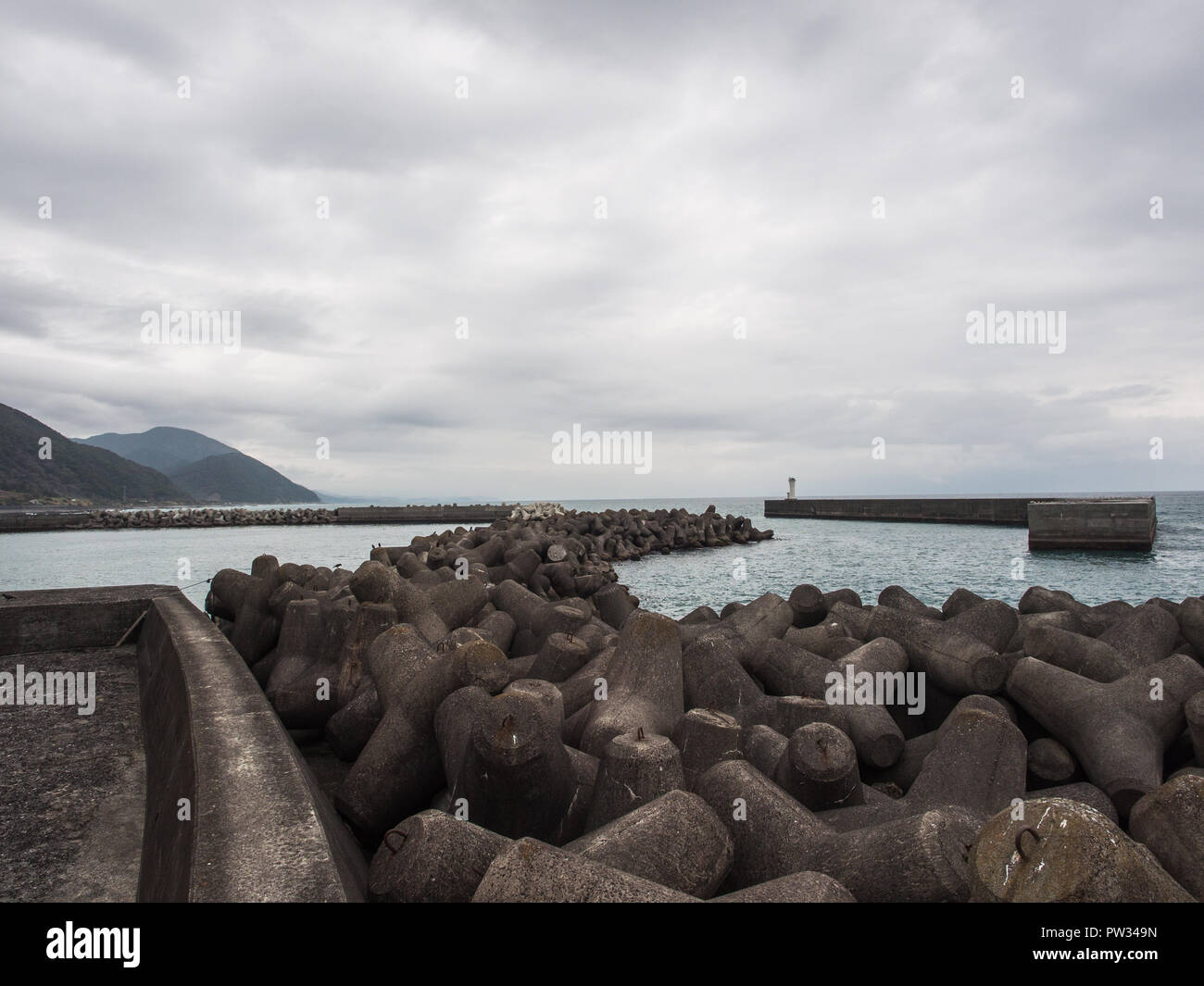 Tetrapod reef coastal protection, Highway 55, from Kannoura to Muroto, Kochi, Shikoku, Japan - Stock Image