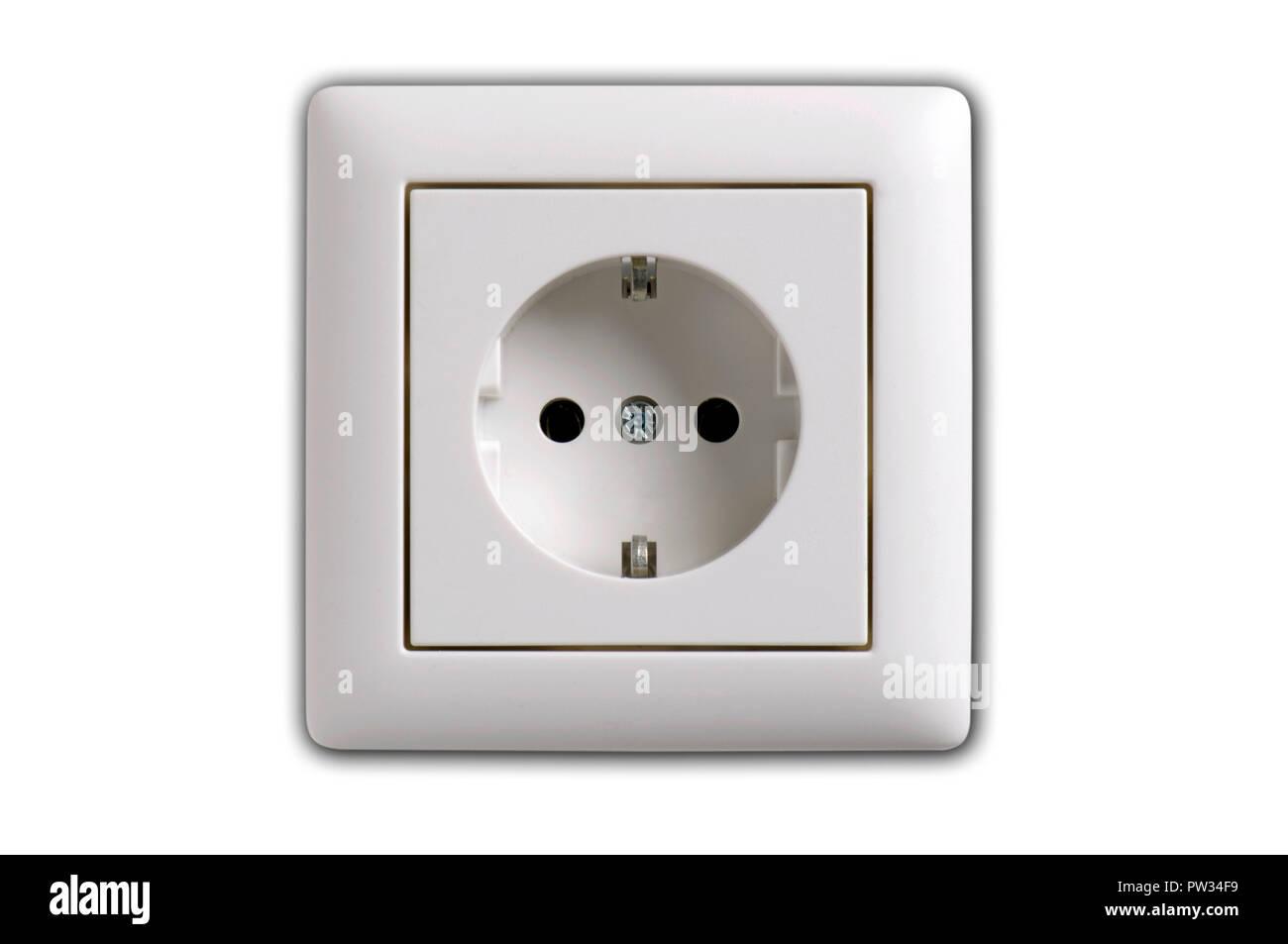 white wall socket - Stock Image