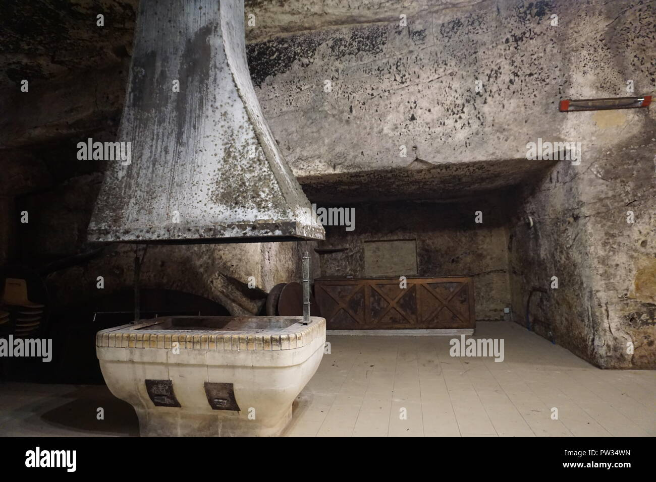 Troglodyte cave hosting receptions, weddings or fun events with a built in kitchen in the Loire Valley, France - Stock Image