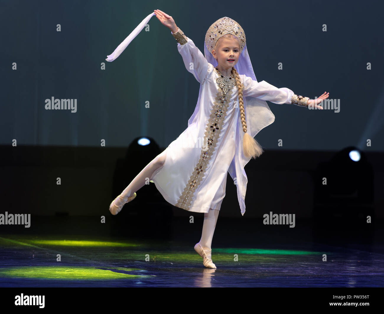St. Petersburg, Russia - October 8, 2018: Agnia Solovyova performs in the super final of International project 'Fireworks of talents. Choreography'. M - Stock Image