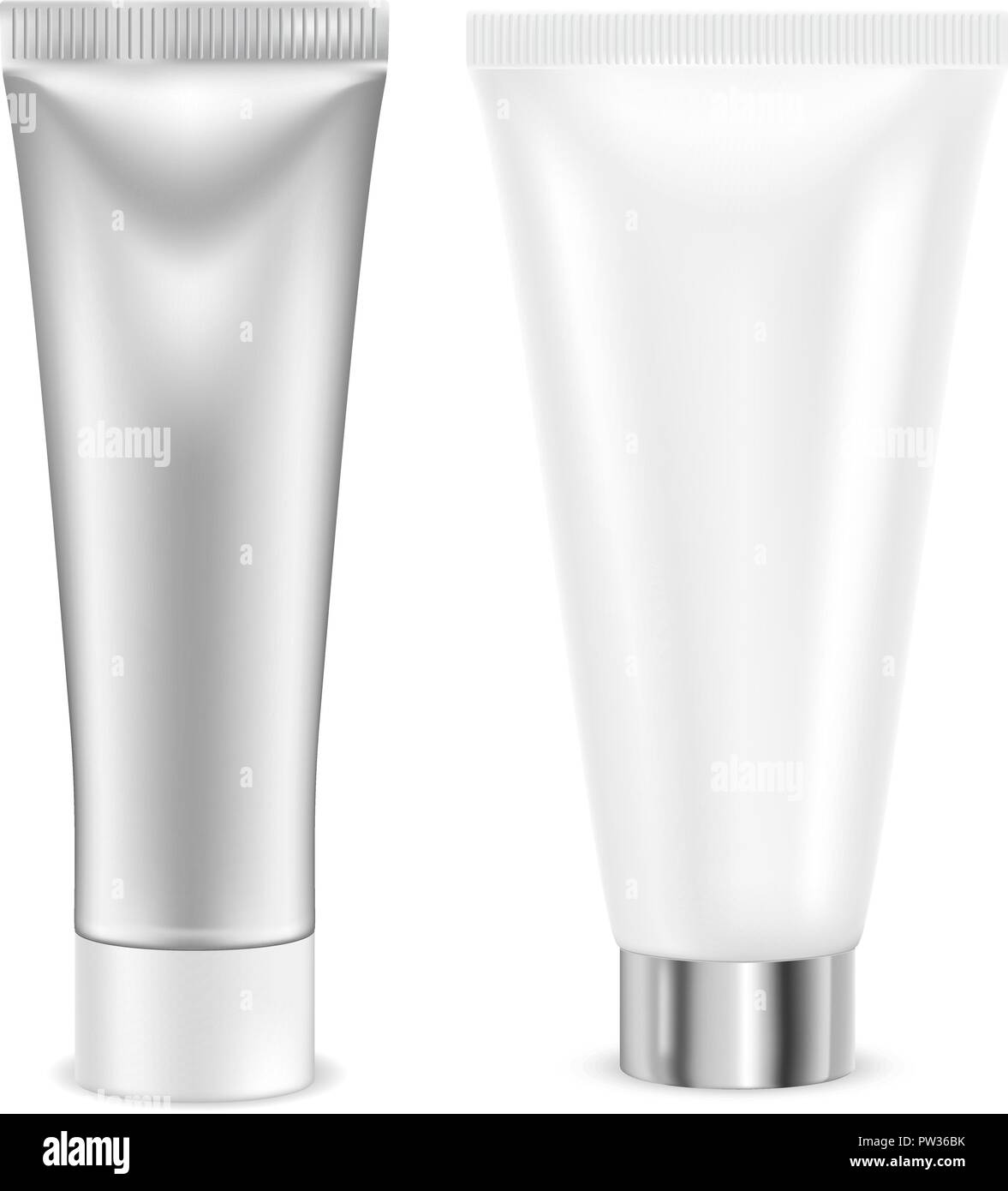 Cream tube. Silver and white container - Stock Image