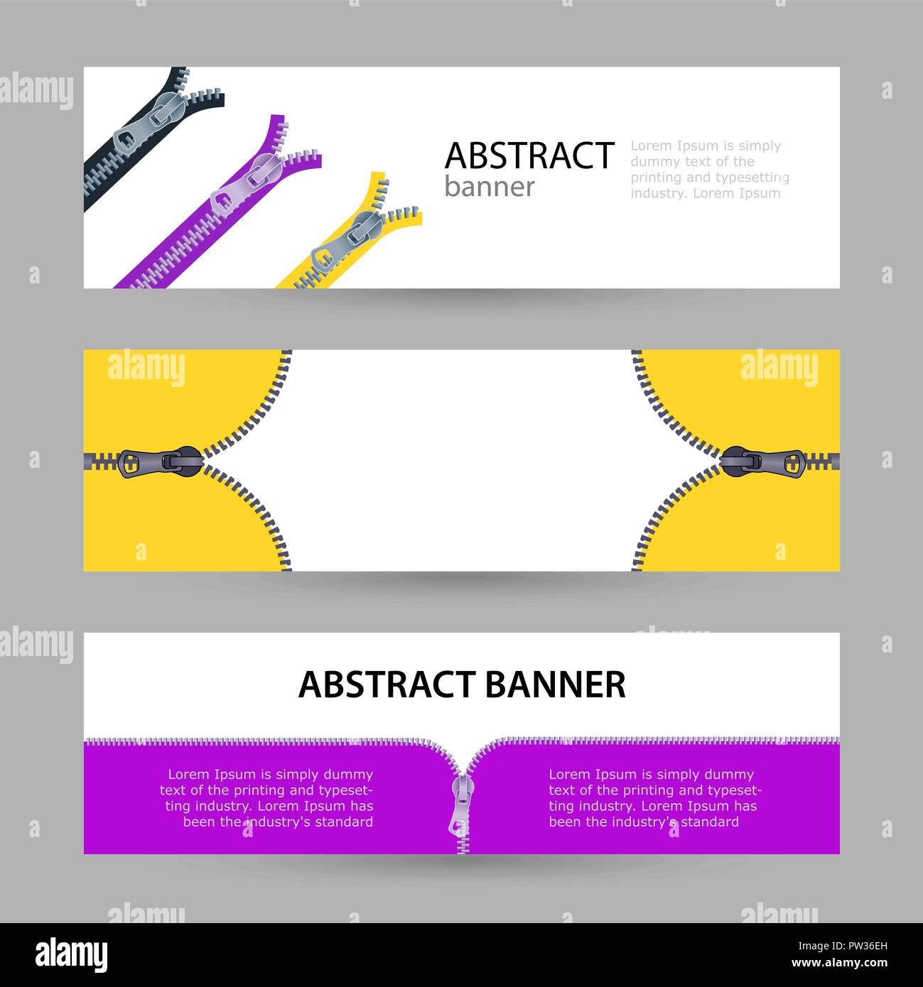 Set horizontal banners with empty place for text. metal zippers for clothing in different colors. banner templates for your projects. Stock Vector