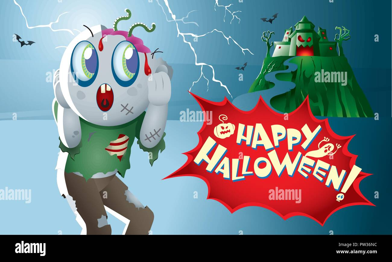 A cute zombie with a haunted castle. - Stock Image