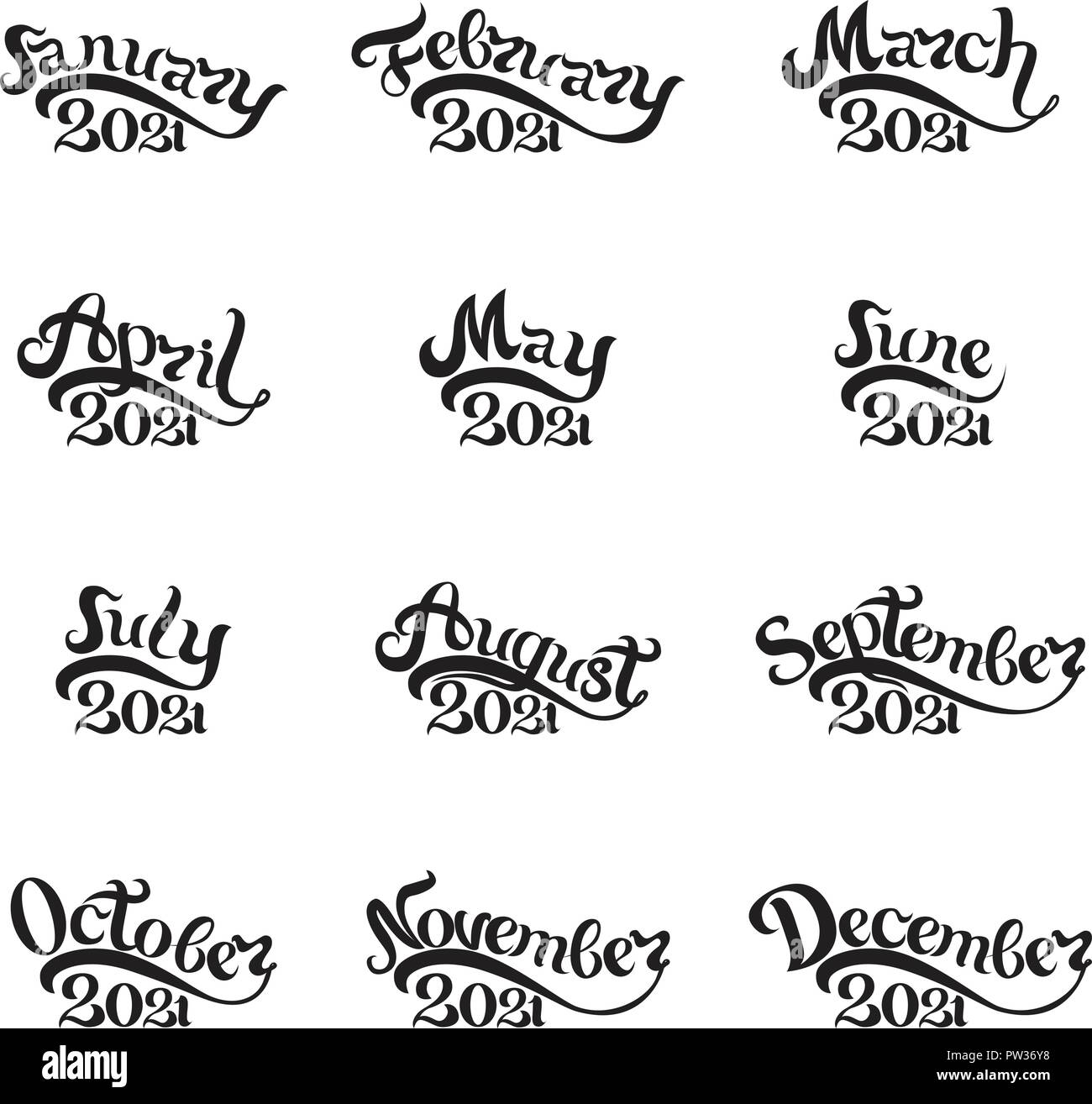 The names of all months 2020 written by hand. Lettering. Beautiful letters on white background. Isolated image for invitations, calendars, t-shirt pri - Stock Image