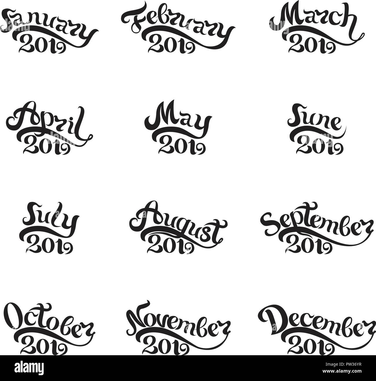 The names of all months 2019 written by hand. Lettering. Beautiful letters on white background. Isolated image for invitations, calendars, t-shirt prints - Stock Image