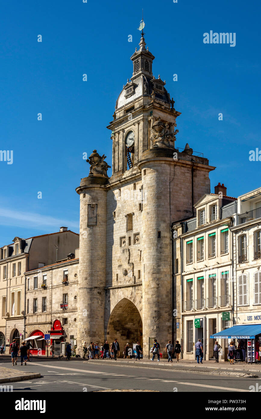 The great Clock Tower of la Rochelle, Charente Maritime, Nouvelle Aquitaine, France - Stock Image