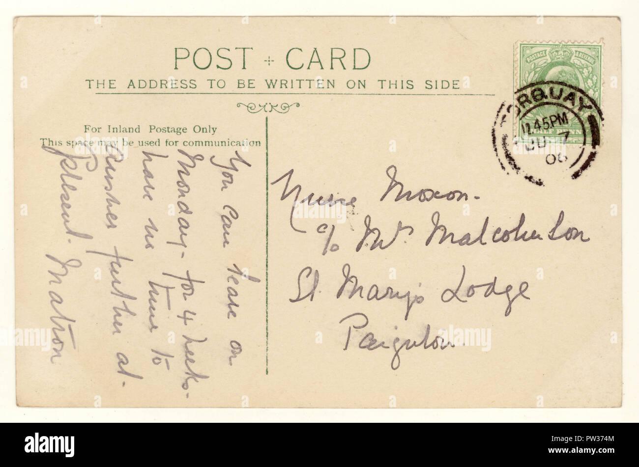 Reverse of Edwardian postcard, postmarked Torquay, Devon, U.K. posted June 7 1906 - Stock Image