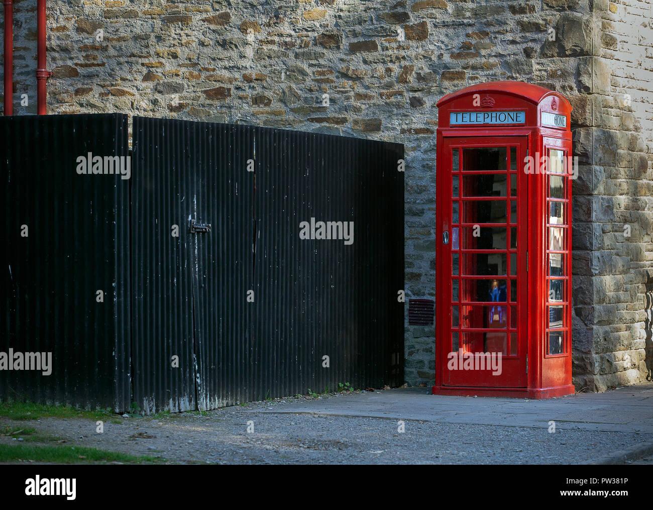 Red British phone box - Stock Image