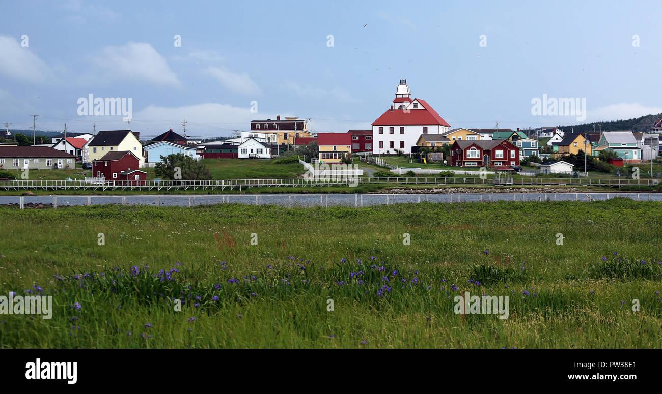 panoramic view of historic Cape Bonavista - Stock Image