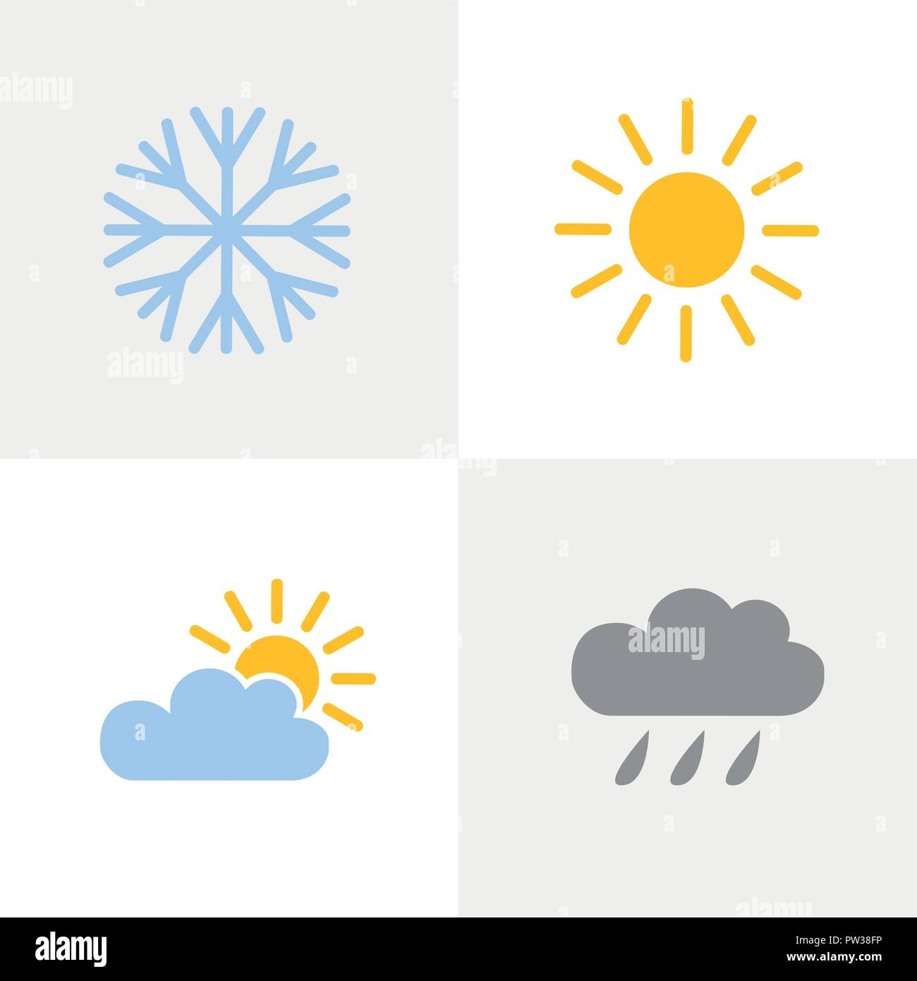 weather icons set with snowflake sun cloud and rain vector illustration - Stock Vector