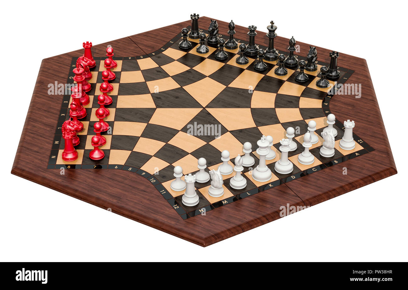 3 Player Chess or Three Man Chess. 3D rendering isolated on white background - Stock Image