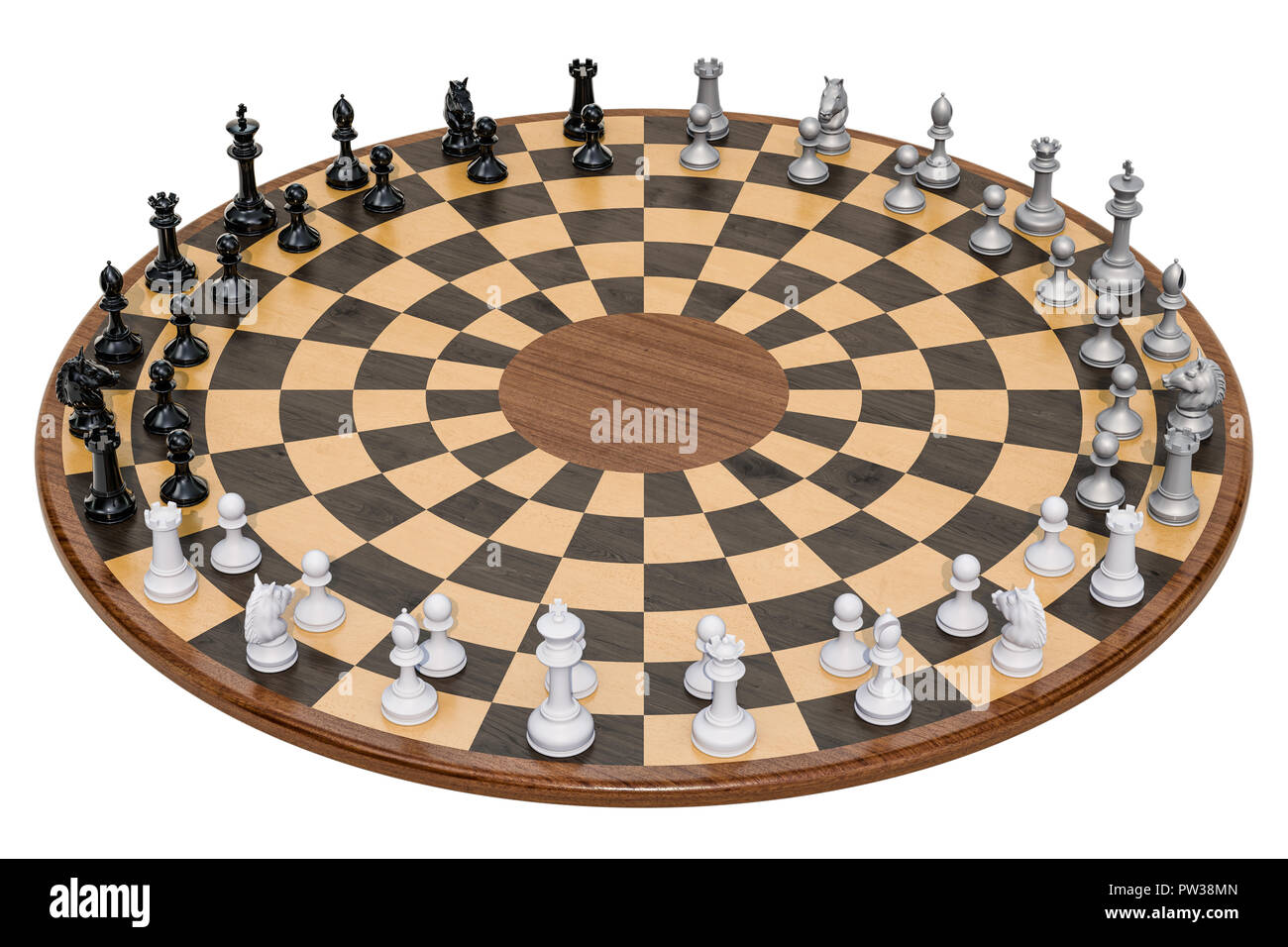 Wooden Three Player Chess. 3D rendering isolated on white background - Stock Image