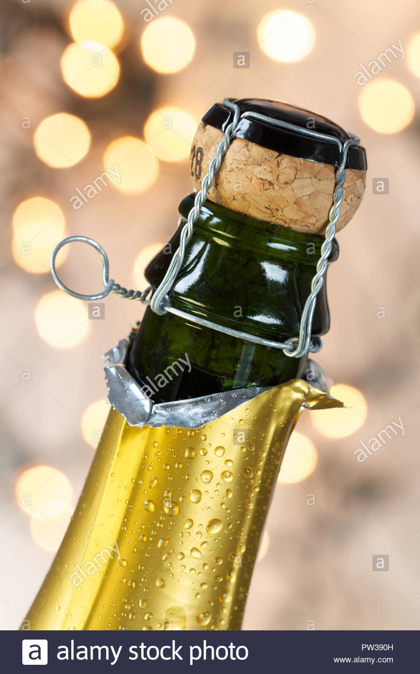 Champagne bottle with cork - Stock Image
