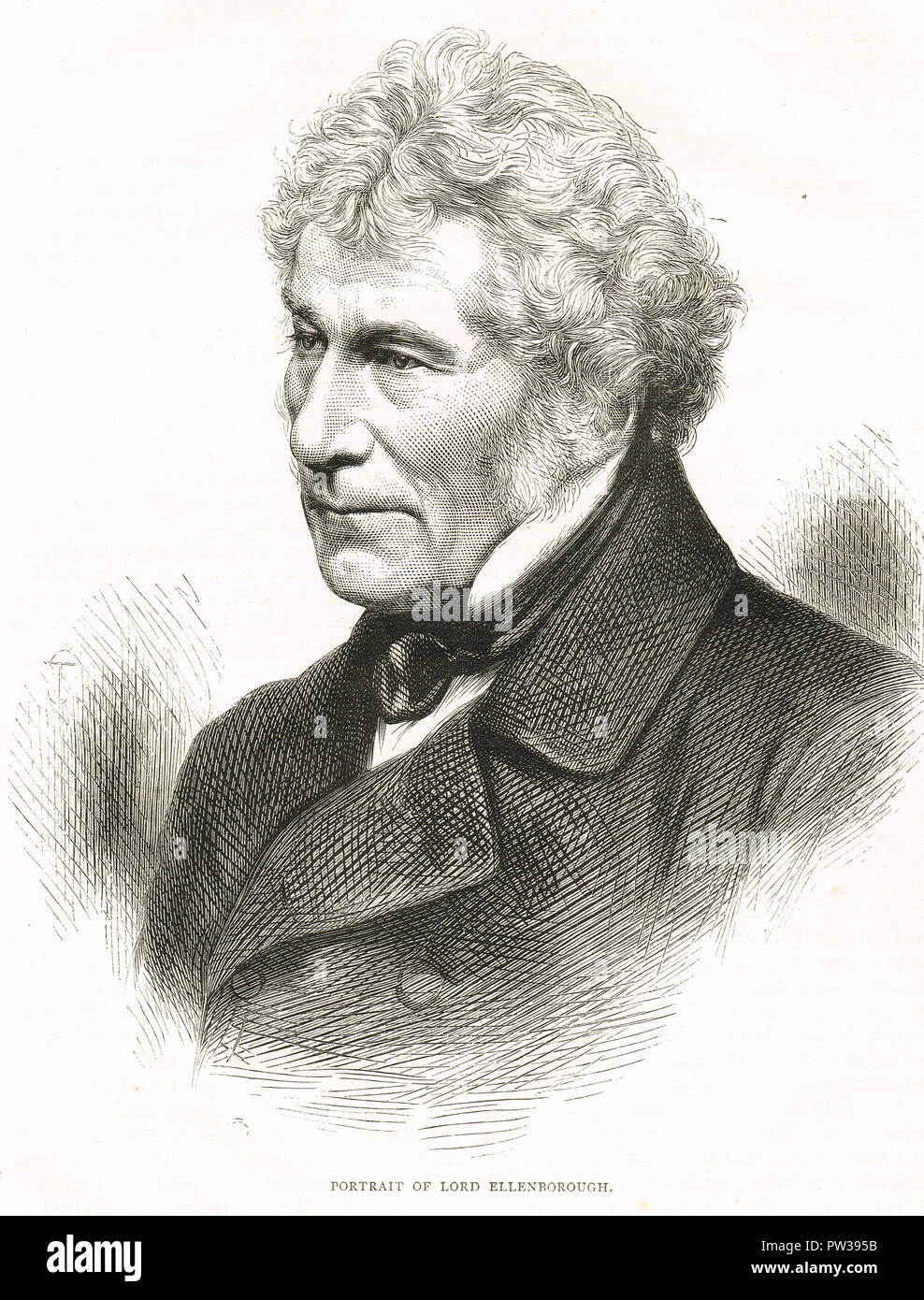 Edward Law, 1st Earl of Ellenborough, controversial Governor-General of India.  He was recalled by the East India company, but later got his revenge on the directors, by advocating the abolition of the court of directors, the opening of the civil service to the army, and the transfer of the government of India to the crown - Stock Image