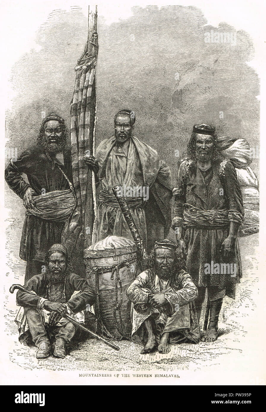 Mountaineers of the western Himalayas, 19th century - Stock Image