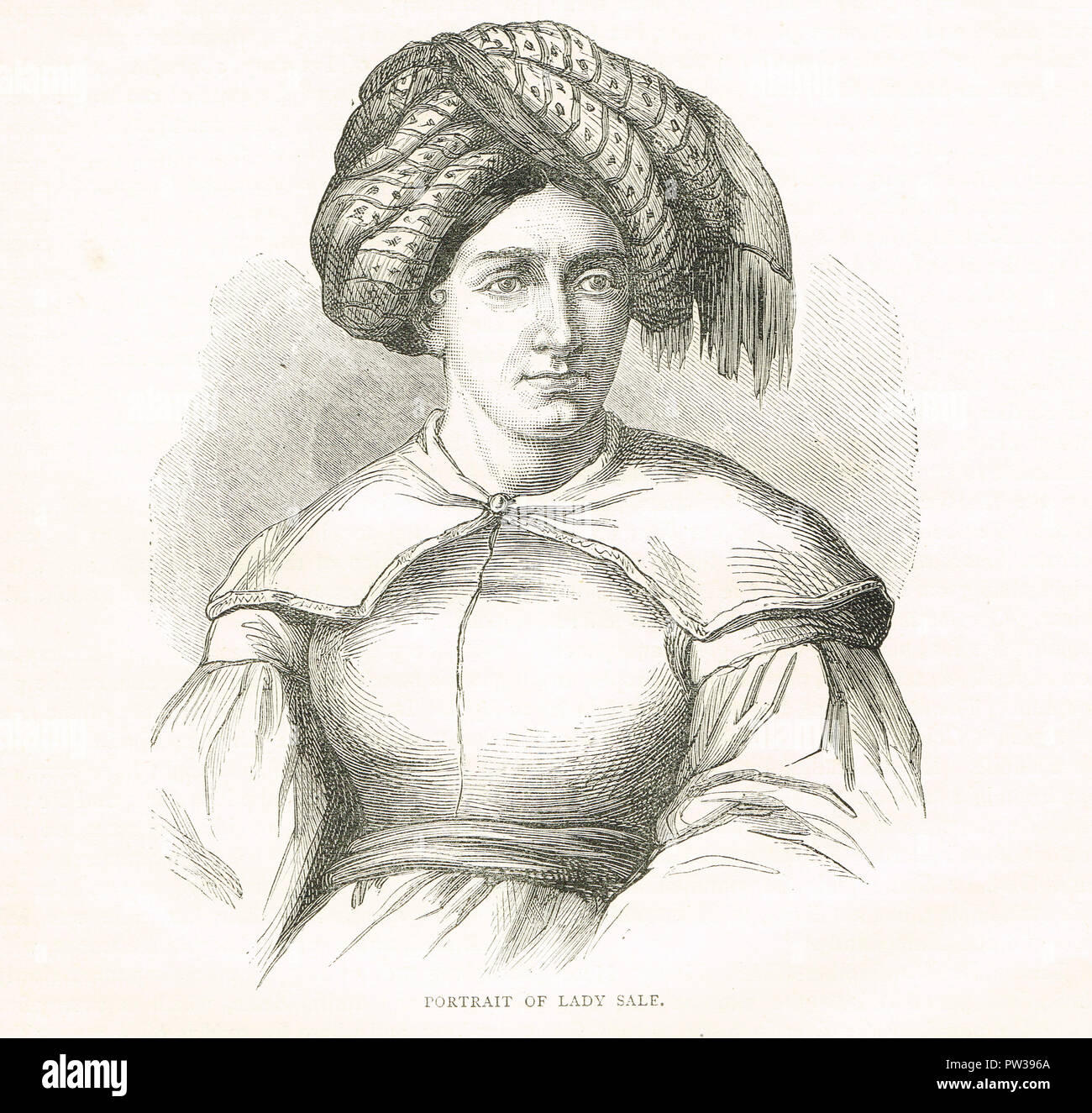 Florentia Sale, wife of Sir Robert Henry Sale, dubbed the Grenadier in Petticoats - Stock Image