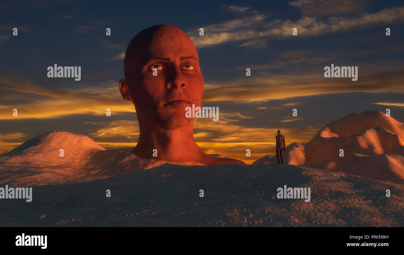 3d render. Ancient statue and futuristic planet - Stock Image