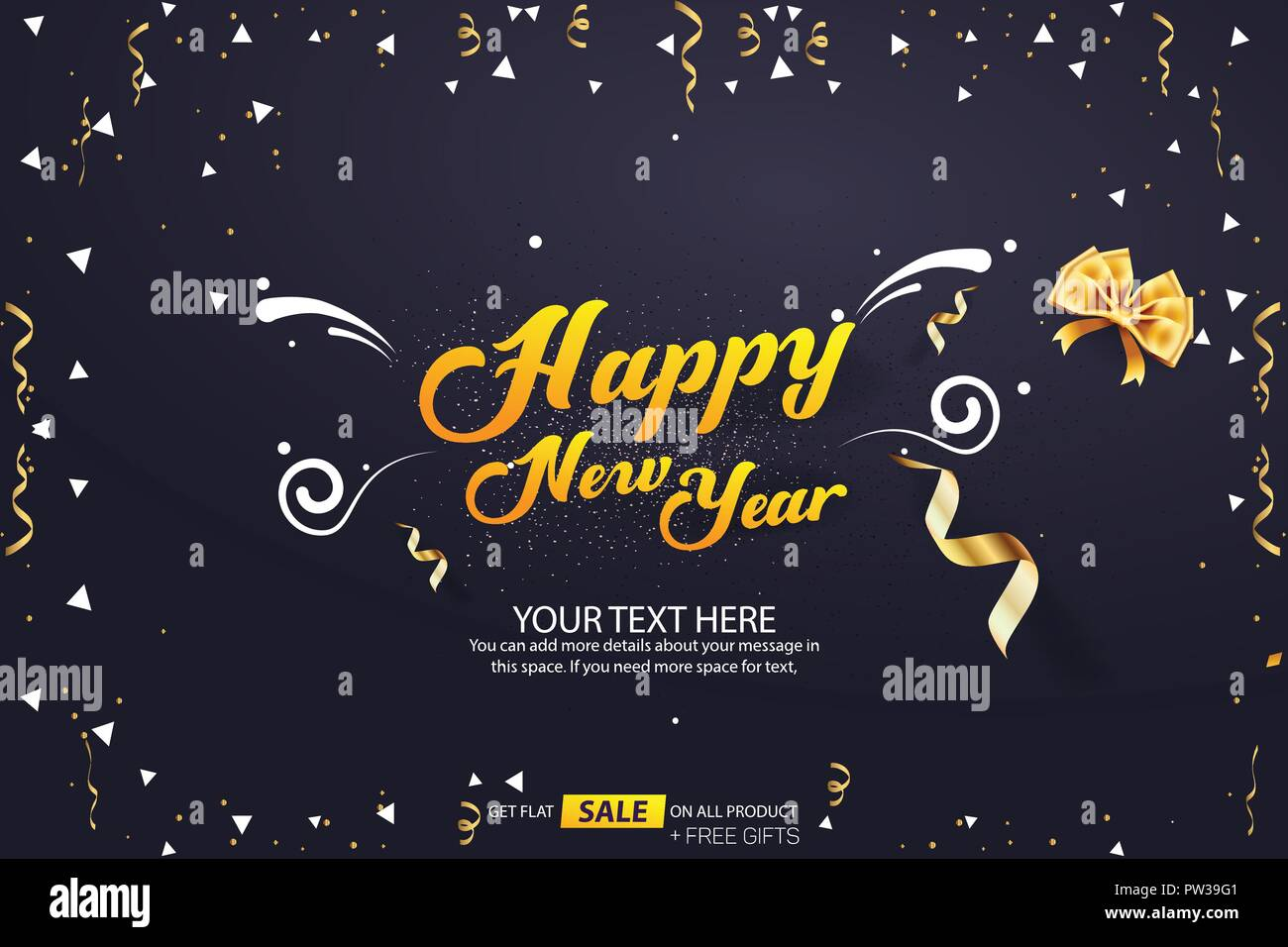 happy new year sale banner cover vector template design