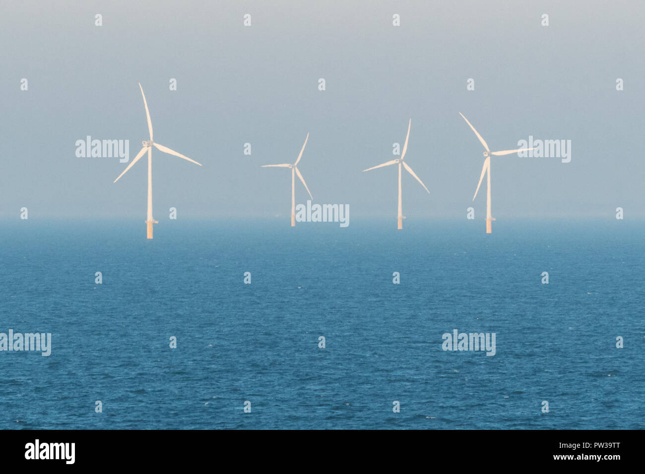 wind turbines offshore - Stock Image