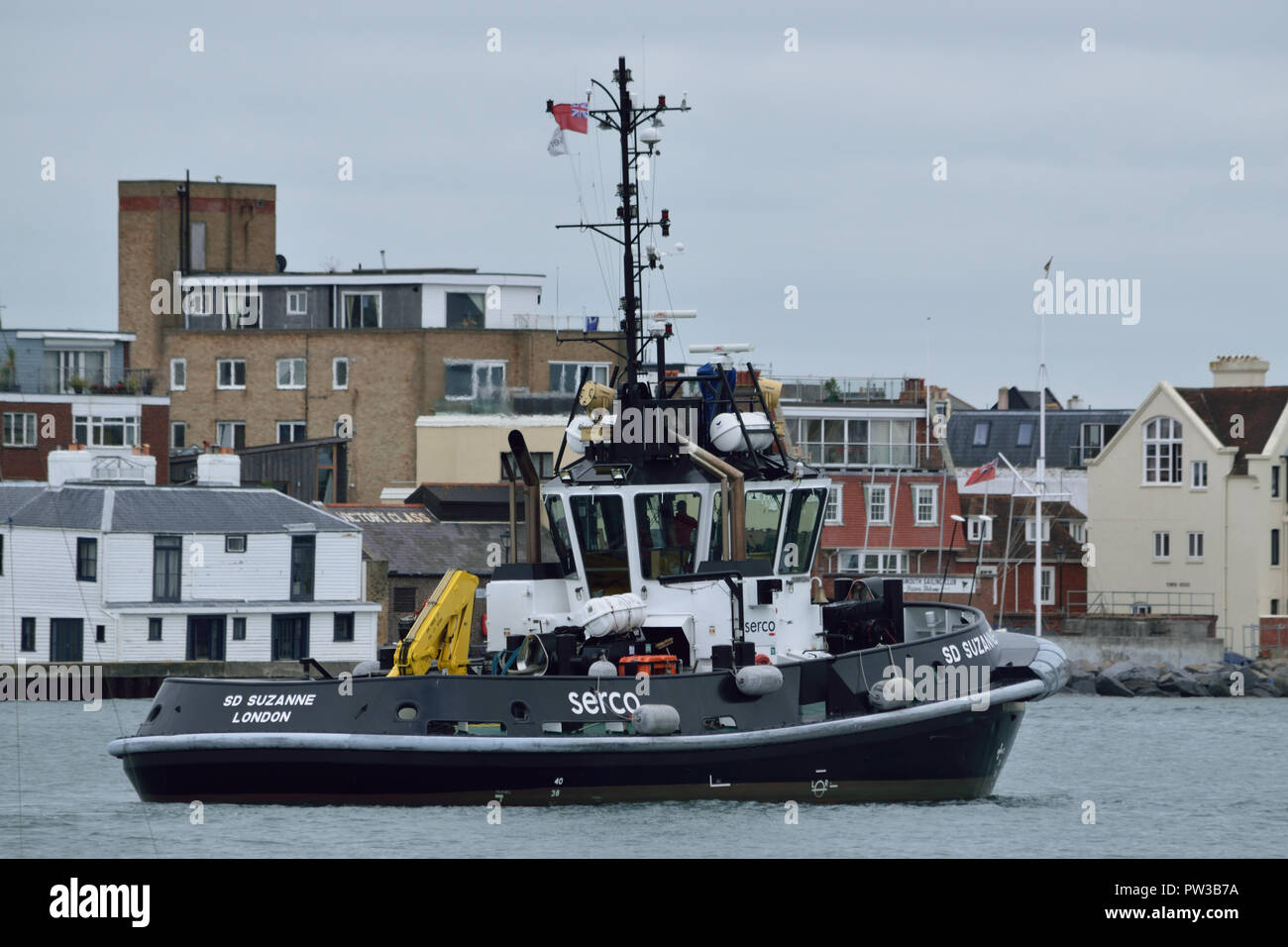 Serco Marine Services tug operating in Portsmouth Harbour - Stock Image