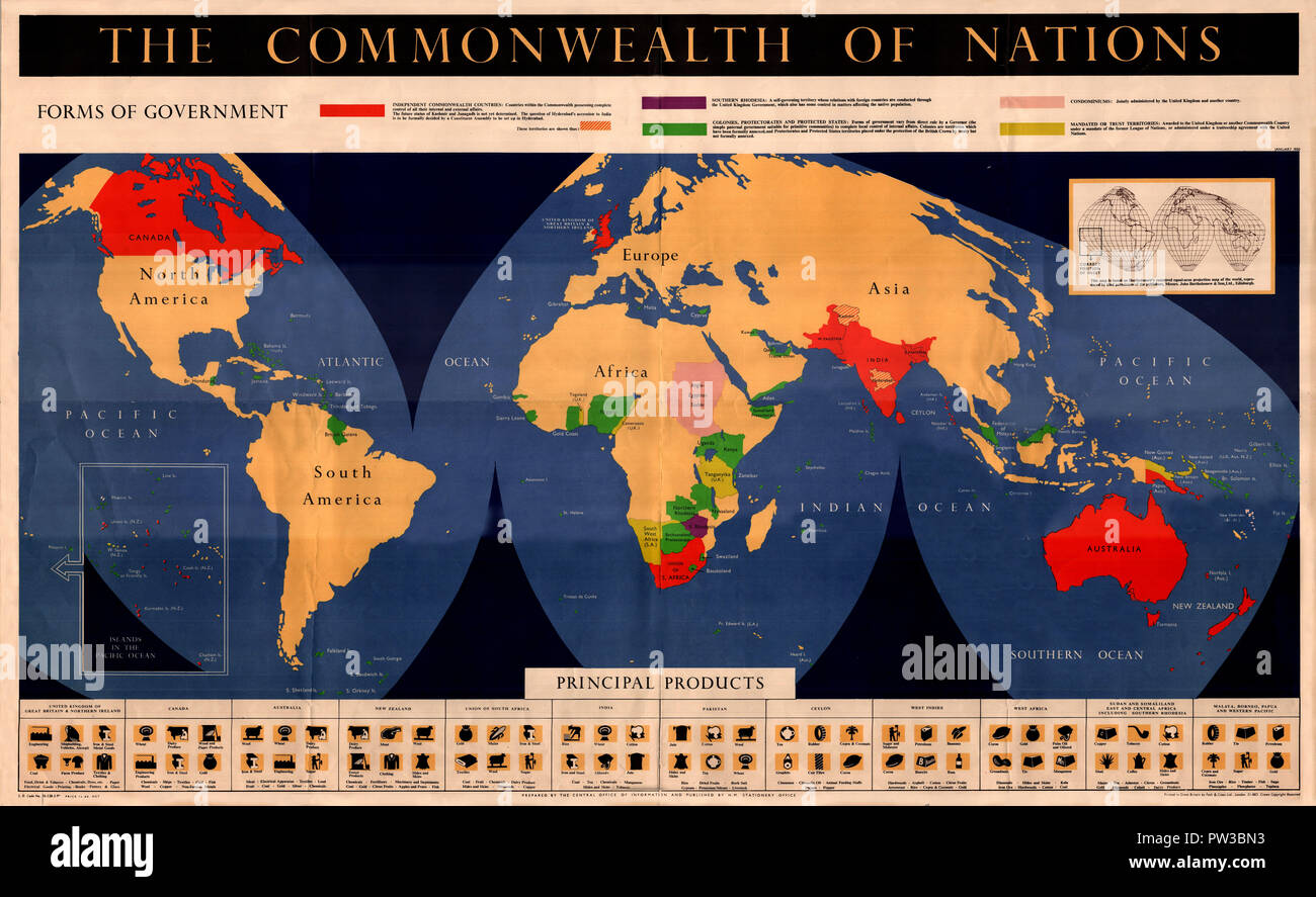 Map Of Asia 1950.Map Of The British Commonwealth 1950 Stock Photo 221965887 Alamy