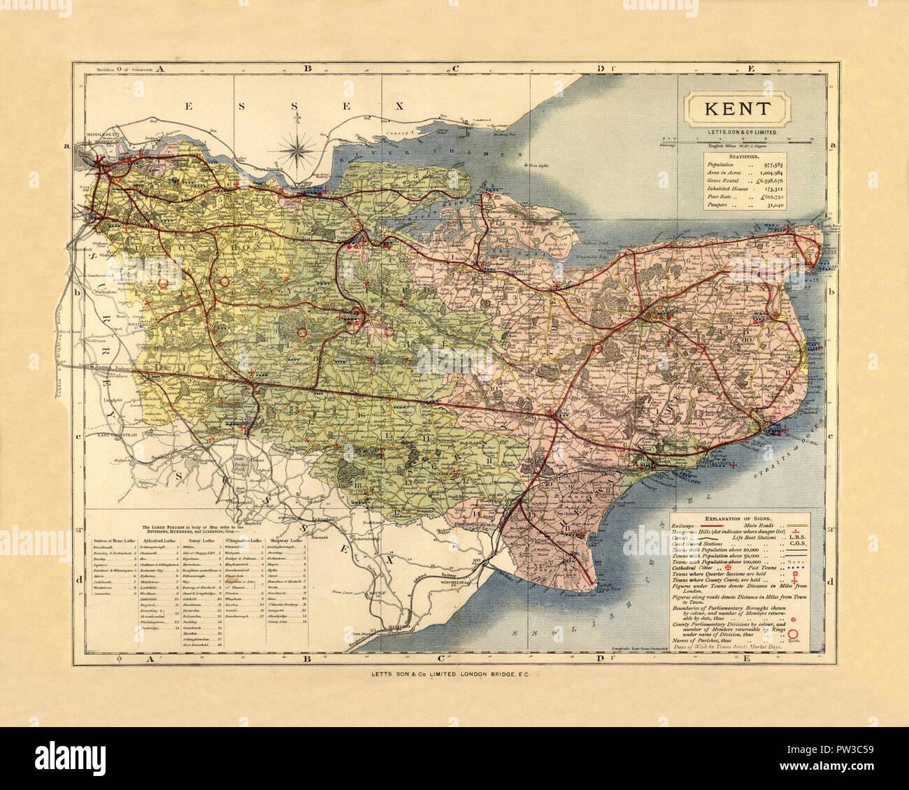 Map Of England Kent.Antique Map Of Kent England Stock Photos Antique Map Of Kent
