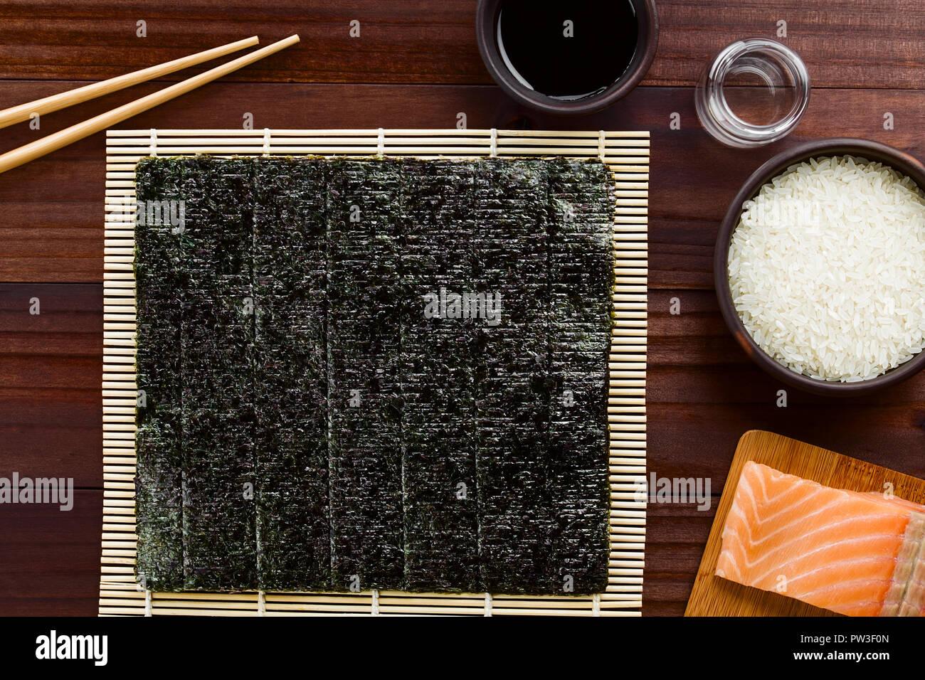 Sushi Ingredients Nori Seaweed On Makisu Bamboo Mat For