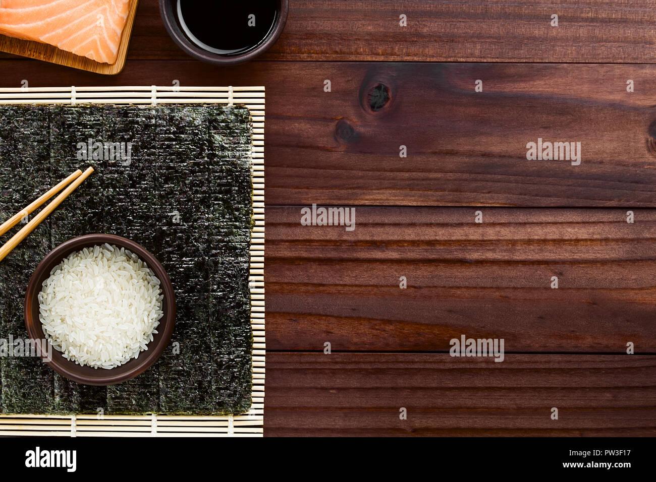 Sushi Ingredients Nori Seaweed Raw Sushi Rice And