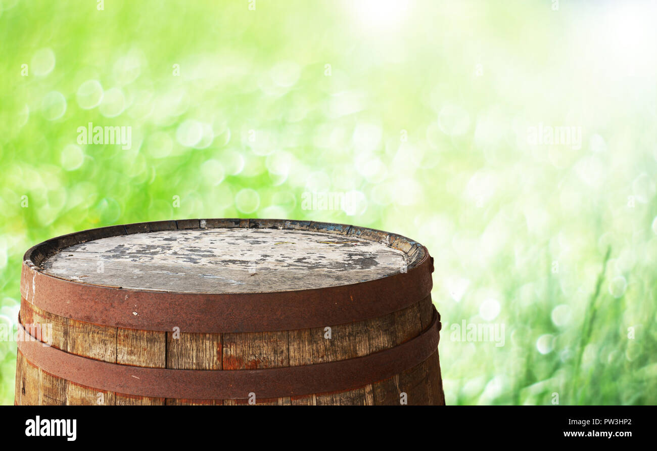 Old barrel top for display montages - Stock Image