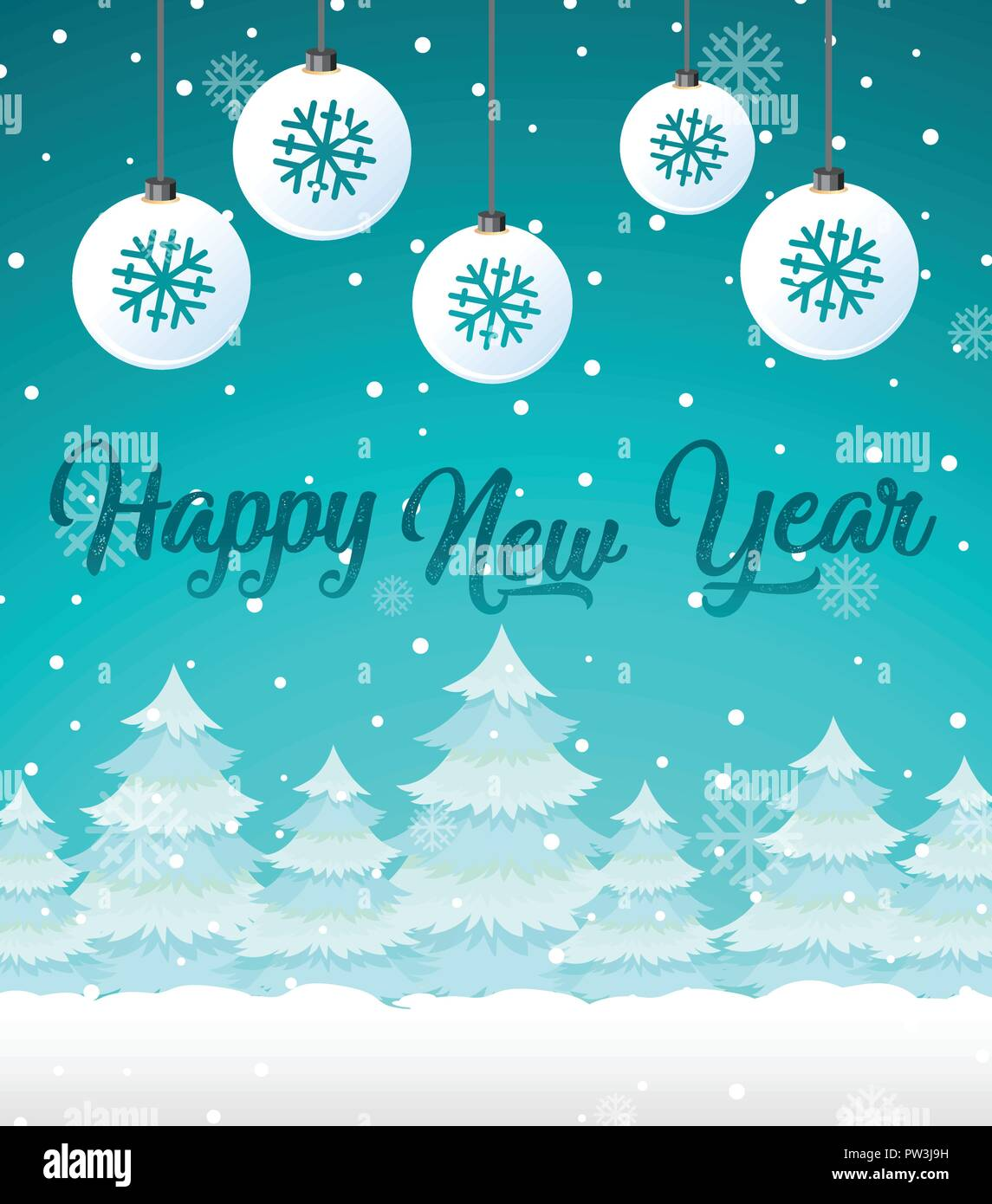 happy new year card template illustration