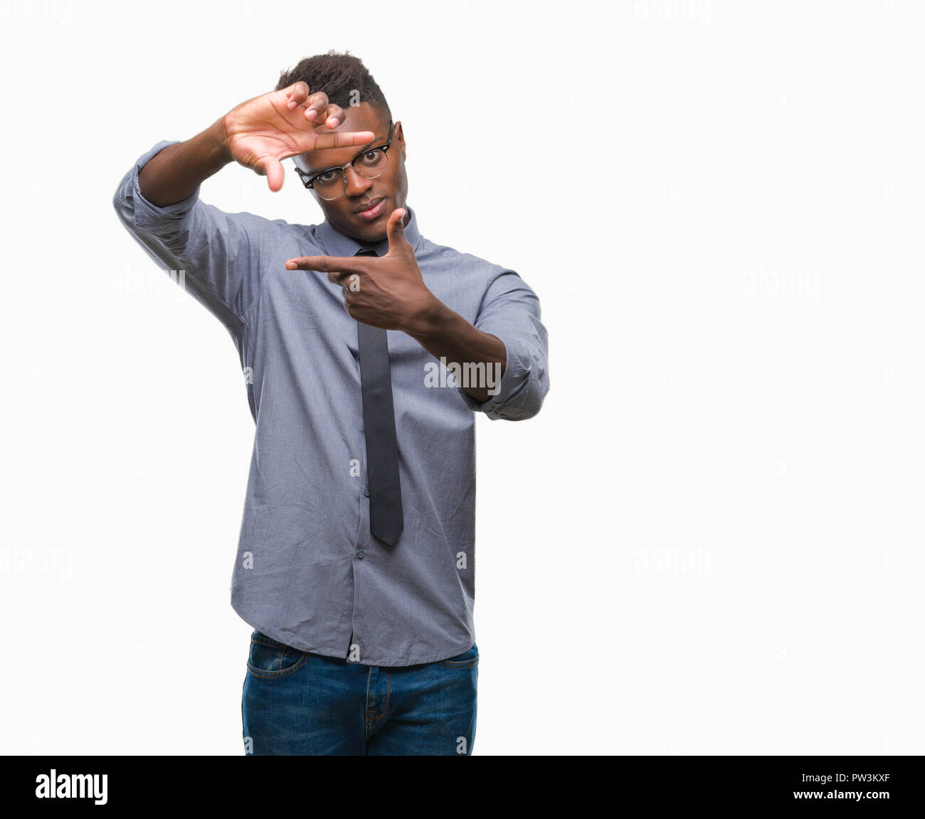 African American Man Making Frame Stock Photos & African American ...