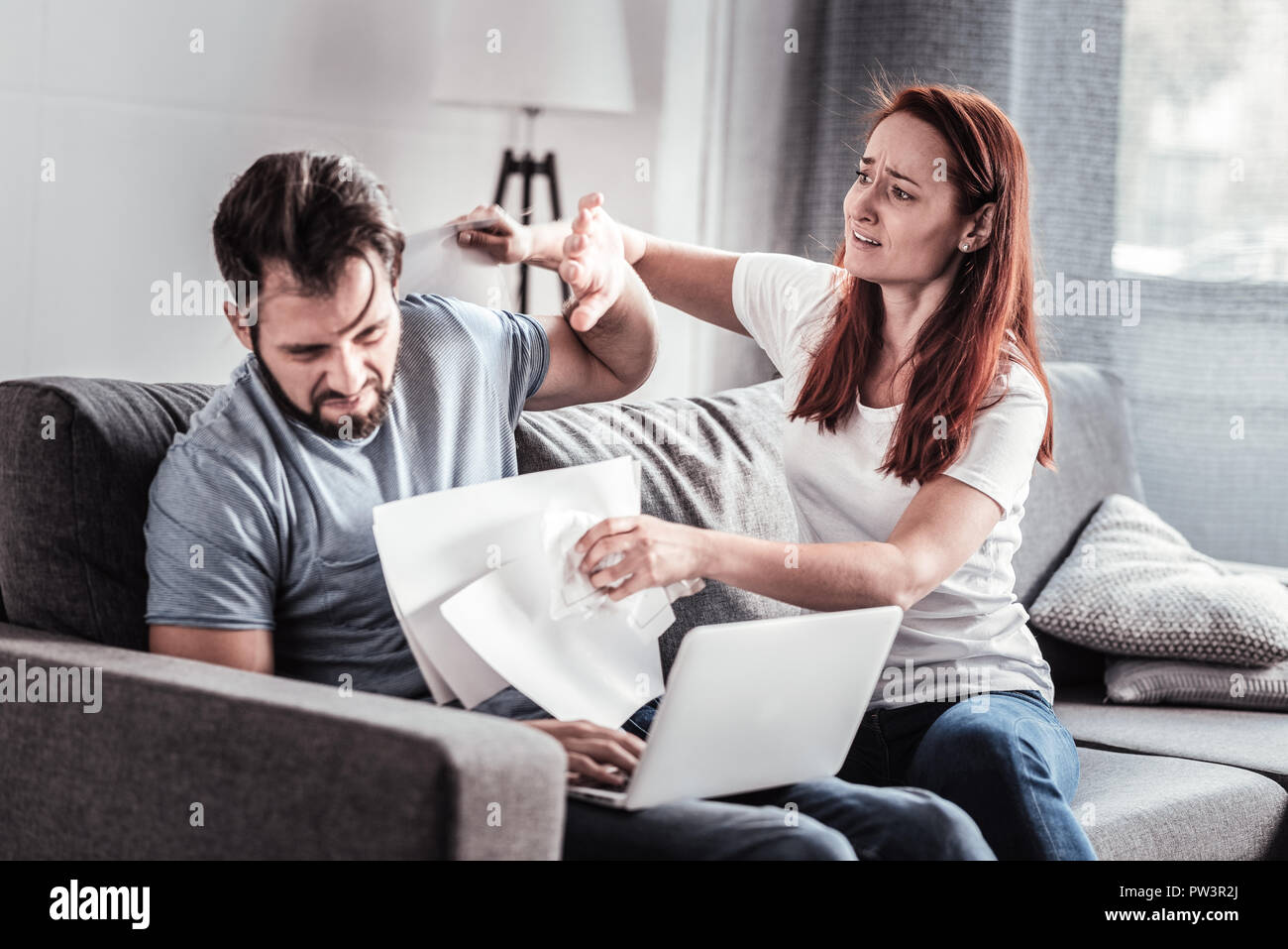Nice unhappy couple having an argument - Stock Image