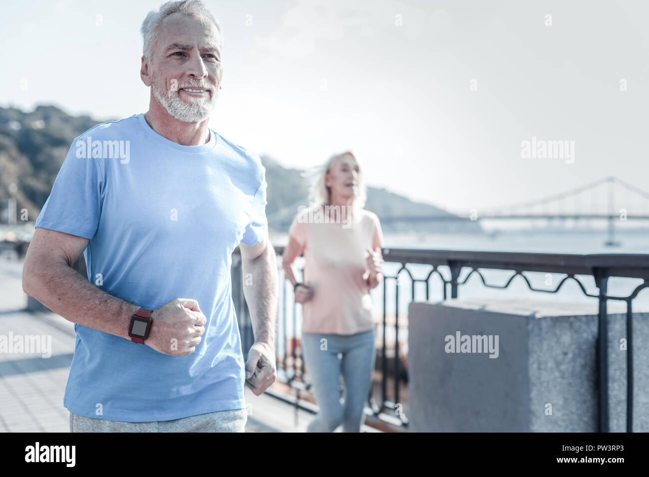 Respected people loving sport activities Stock Photo